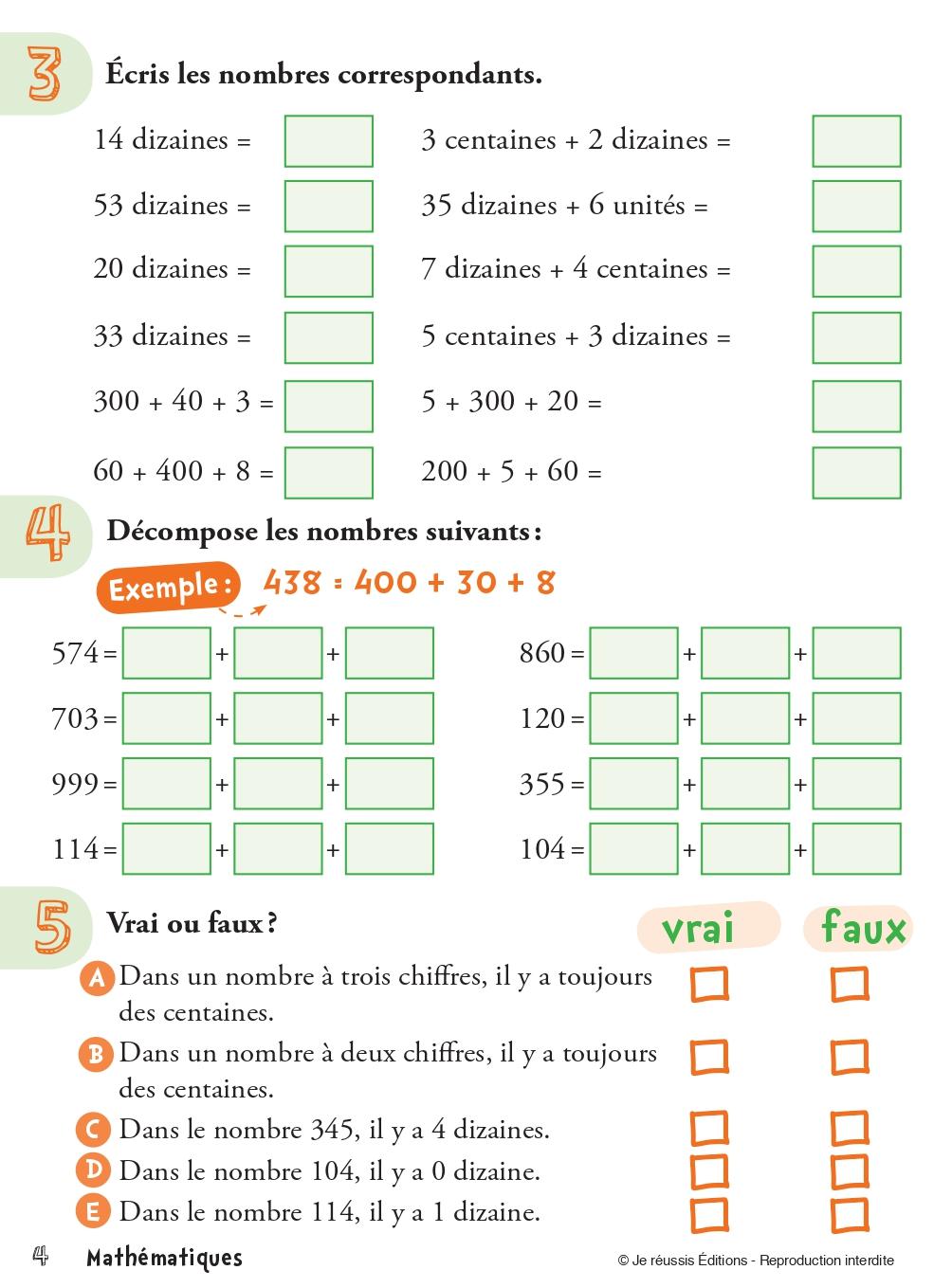 Exercices De Mathematique Pour Le Ce2 Je Reussis
