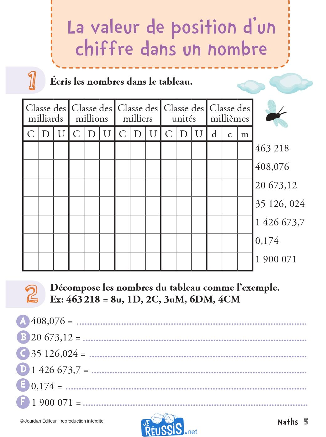 Exercices de mathématique pour le CM2 - Je Réussis